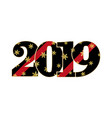 happy new year card black red number 2019 with vector image vector image