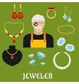 Jeweler and jewelry flat icons vector image