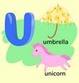 letter u in children alphabet graphics vector image