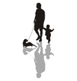 Man and child with a ferret on a leash vector image