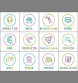 messaging and calling or internet search icons vector image vector image