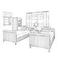 Modern double bedroom with furniture vector image
