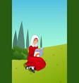 muslim girl reading a book outdoor vector image