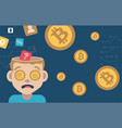 open head man with dollar coins in his mind vector image