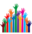 Photo of raised hands vector image
