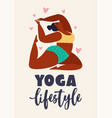 plus size young women doing fitness yoga forward vector image vector image