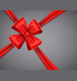 realistic red bow on transparent background vector image vector image