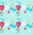 seamless pattern with cute pilot squirrel vector image