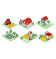 set isometric farm icons wooden barns vector image