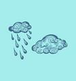 set of cloud and rain cloud hand-drawn vector image vector image