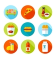 Set of flat grocery and food icons vector image vector image