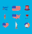 set of independence day and happy 4 th july icon vector image