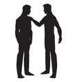 silhouette of two men talking vector image