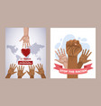 Stop racism international day poster with hands