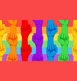 striped hand showing fist raised up gay rights vector image vector image