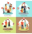 Travelers Concept 4 Flat Icons Square vector image
