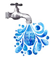 Watercolor faucet with water drops vector image vector image