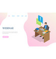 webinar website man working with laptop vector image vector image