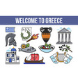 welcome to greece greek symbols isolated objects vector image