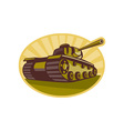 world war two battle tank aiming cannon vector image vector image