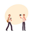young man using smartphone walking making selfie vector image vector image