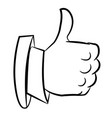 cartoon image of thumb up icon good symbol vector image