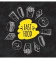 Fast food Set of cartoon background vector image