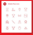 16 place icons vector image vector image