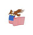 American Bald Eagle Carrying USA Flag Cartoon