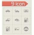 black electric icon set vector image