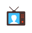 brown tv icon with anchorwoman vector image vector image