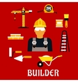 Builder and construction flat icons vector image vector image