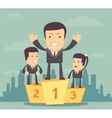Business people stand on the podium vector image vector image