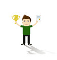 businessman proudly standing and holding up trophy vector image vector image