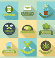 cannabis plant logo set flat style vector image