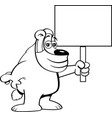 cartoon bear with mask holding a sign vector image vector image