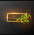christmas design realistic gold frame vector image vector image