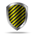 Classic metal shield with yellow pattern vector image