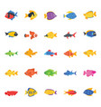 collection of fishes flat icons vector image vector image