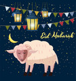 cute cartoon sheep eid mubarak vector image vector image