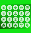 danger insect shape carved flat icons set vector image vector image