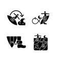 extreme water sport black glyph icons set vector image