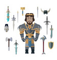 fantasy knight character with weapons vector image vector image