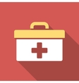 First Aid Toolbox Flat Square Icon with Long vector image vector image