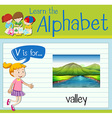 Flashcard letter V is for valley vector image vector image