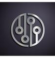 Flat metallic logo microchip vector image vector image