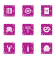 foodstuff icons set grunge style vector image vector image