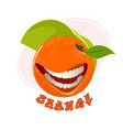 funny orange on white vector image