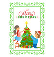 greeting card merry christmas wishes boy and girl vector image vector image