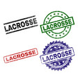 grunge textured lacrosse seal stamps vector image